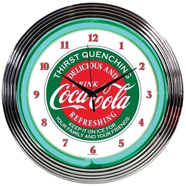 Coca-Cola Evergreen Neon Wall Clock