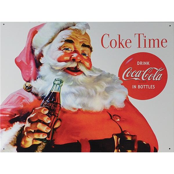 """Coke Santa Tin Sign - 16""""W x 12-1/2""""H"""