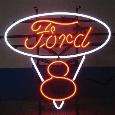 Ford V8 Red/White Neon Sign