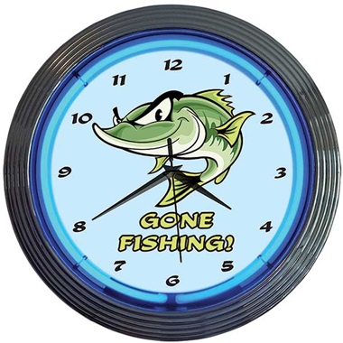 Gone Fishing! Neon Wall Clock