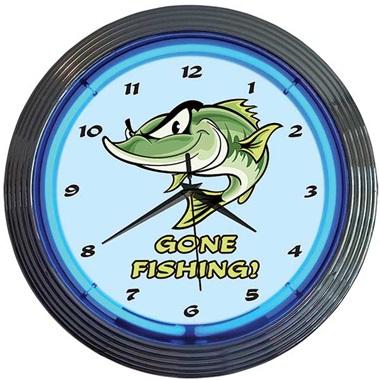 Gone Fishing! Neon Wall Clock