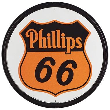 "Phillips 66 Tin Sign - 11-3/4"" Dia"