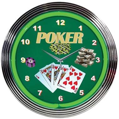Poker Green Neon Wall Clock