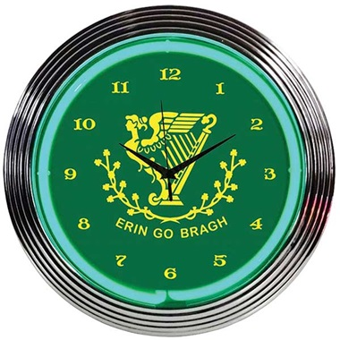 Irish Erin Go Bragh Neon Wall Clock