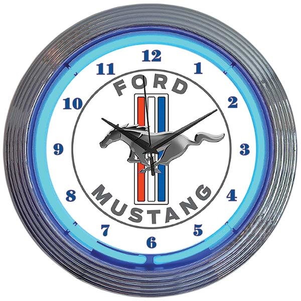 Ford Mustang Blue Neon Wall Clock