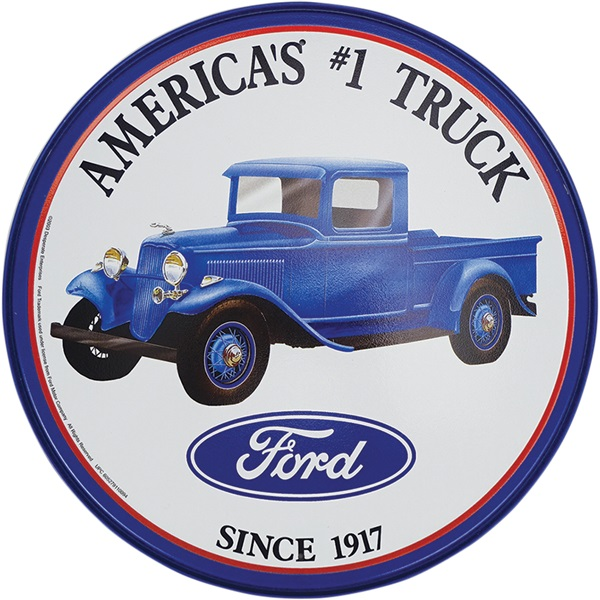 "Ford Truck Tin Sign - 11-3/4"" Dia"