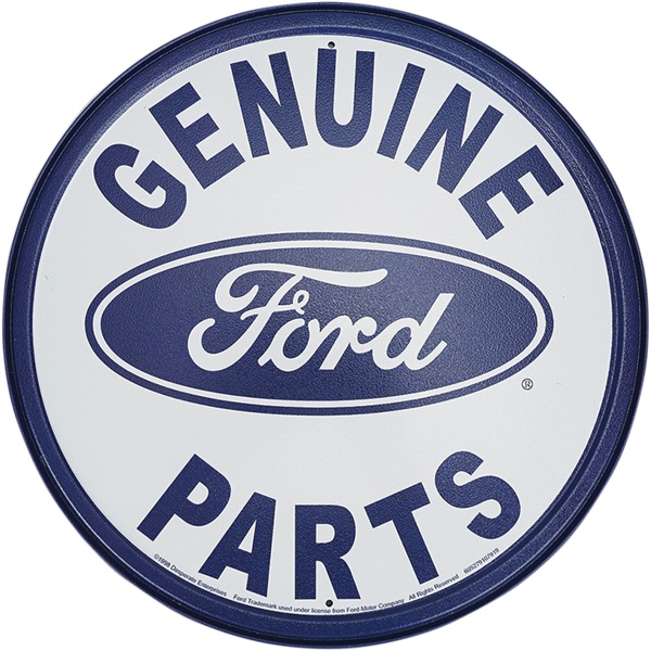 """Genuine Ford Parts Tin Sign - 11-3/4"""" Dia"""