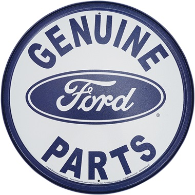 "Genuine Ford Parts Tin Sign - 11-3/4"" Dia"