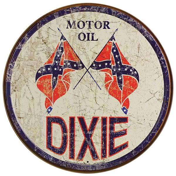 """Dixie Oil Tin Sign - 11-3/4"""" Dia"""