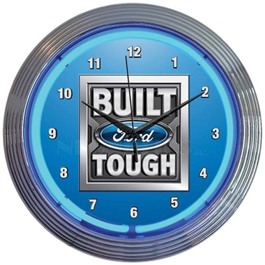 Built Ford Tough Neon Wall Clock