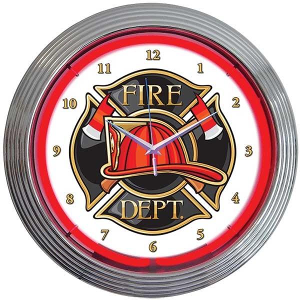 Fire Department Neon Wall Clock