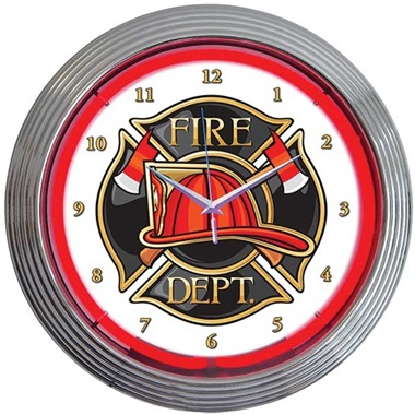 Fire Department Neon Wall Clock