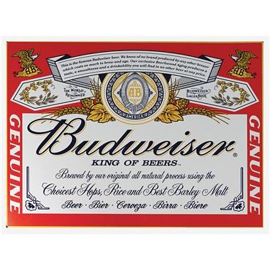 """Budweiser King Tin Sign - 16""""W x 12-1/2""""H"""