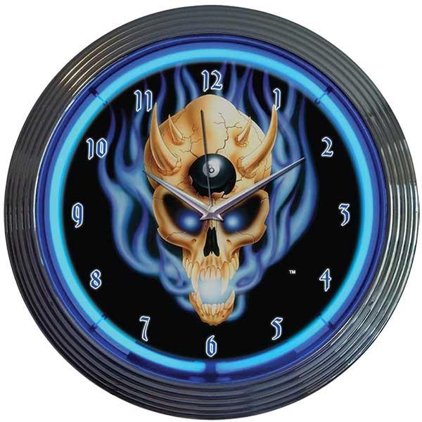8 Ball Skull Neon Wall Clock