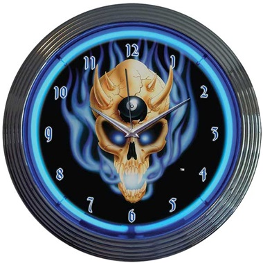 8 Ball Skull Neon Wall Clock