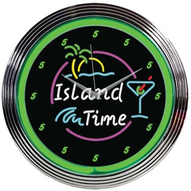 Island Time Neon Wall Clock