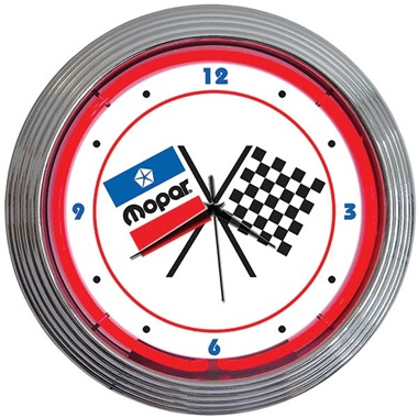 Mopar Checkered Flags Neon Wall Clock