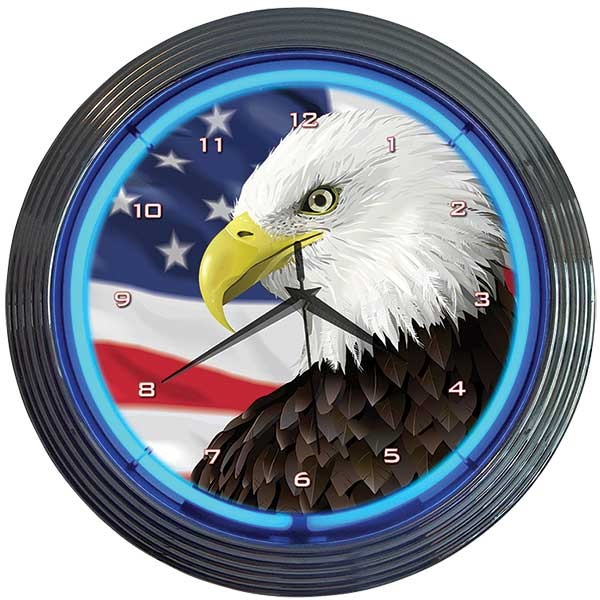 Eagle with American Flag Neon Wall Clock