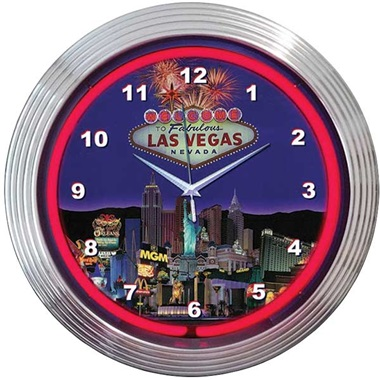 Las Vegas Strip Neon Wall Clock