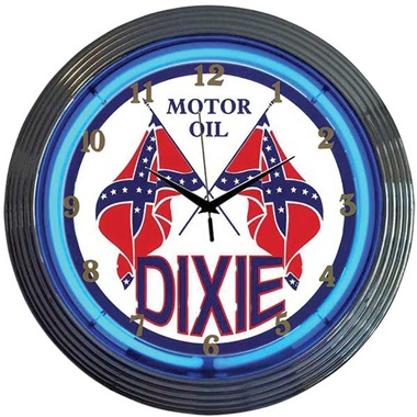 Dixie Motor Oil Neon Wall Clock