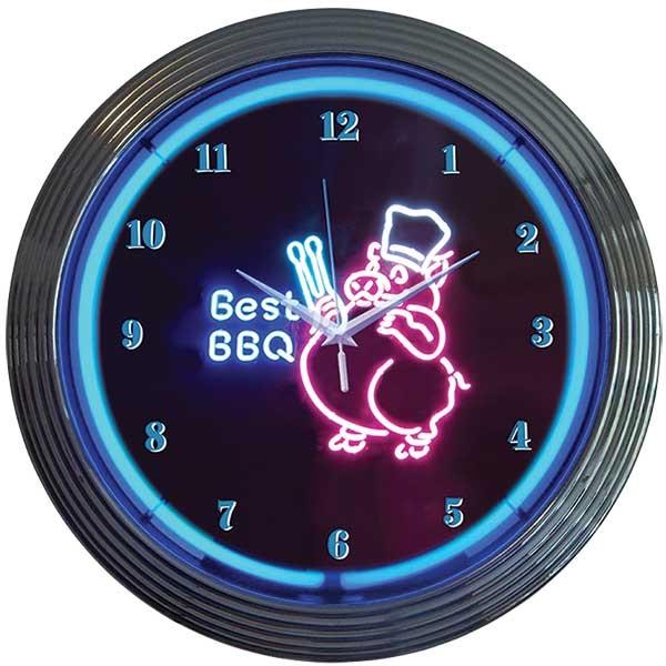 Best BBQ Pig Neon Wall Clock