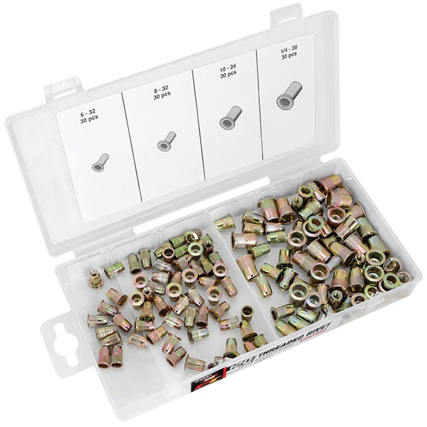Performance Tool® 120-Pc Repl Zinc-Plated Steel Rivet Nuts - SAE