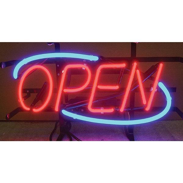 Open Blue Border Neon Sign