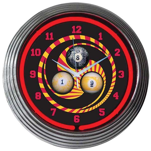 Billiards 1,8,9 Neon Wall Clock