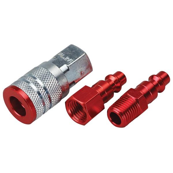 """3-Pc Milton® Color Fit Coupler Set - 1/4"""" M-Style Coupler & Plugs"""