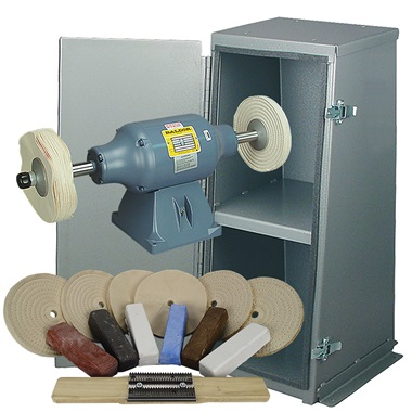 BALDOR® 3/4HP Buffer, Enclosed Buffer Cabinet Stand & Buffing Kit