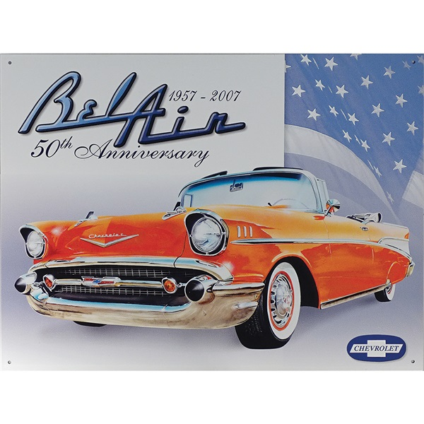 "Bel Air 50th Anniversary Tin Sign - 16""W x 12-1/2""H"