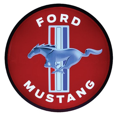"Ford Mustang 15"" Dia Backlit LED Sign"