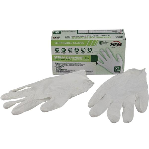 SAS® DERMA-DEFENDER™ Disposable Nitrile Work Gloves, XL
