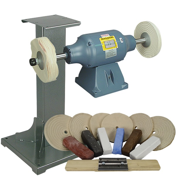 BALDOR® 3/4HP Buffer, 11 Ga Steel Stand & Buffing Kit