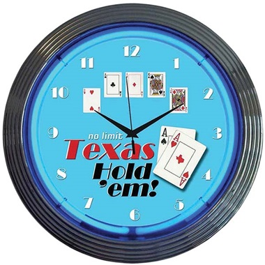 Poker Texas Hold 'Em Neon Wall Clock