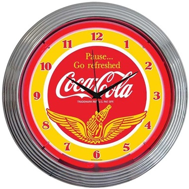 Coca-Cola Wings Neon Wall Clock