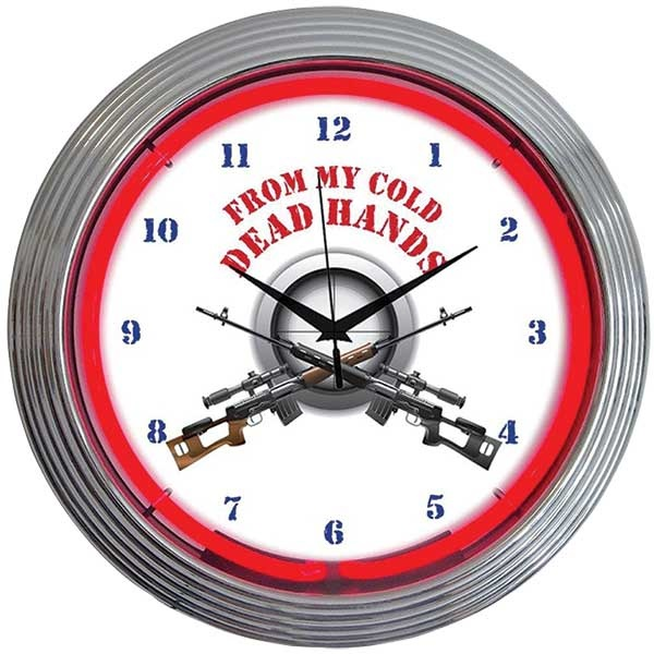 From My Cold Dead Hands Neon Wall Clock