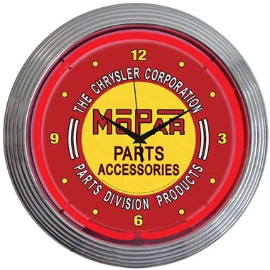 Mopar Red Vintage Neon Wall Clock
