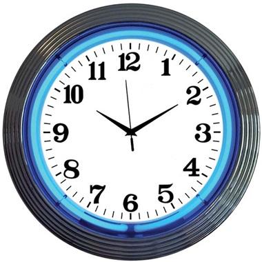 Chrome Rim Blue Neon Wall Clock