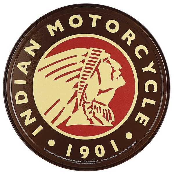 "Indian Motorcycle Tin Sign - 11-3/4"" Dia"