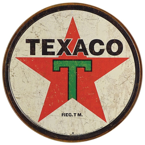 "Texaco Tin Sign - 11-3/4"" Dia"