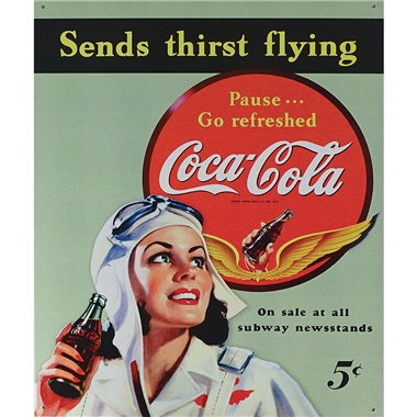 "Coke - Sends Thirst Flying Tin Sign - 12-1/2""W x 16""H"