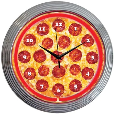 Pizza Neon Wall Clock