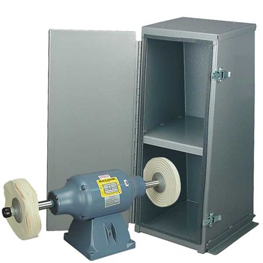 BALDOR® 3/4HP Buffer and Enclosed Buffer Cabinet Stand