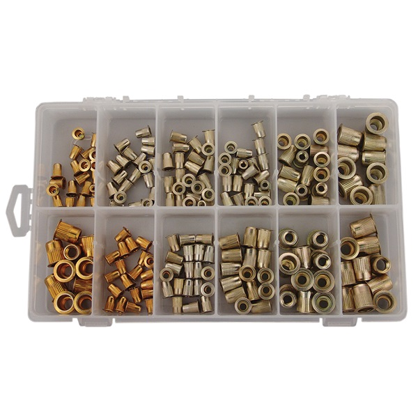 TP Tools® 190-Pc Repl Zinc-Plated Steel Threaded Rivet Nut Kit