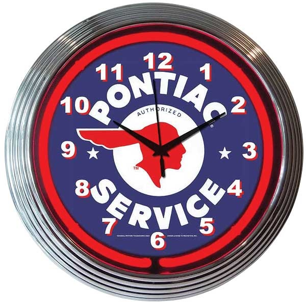 Pontiac Service Neon Wall Clock