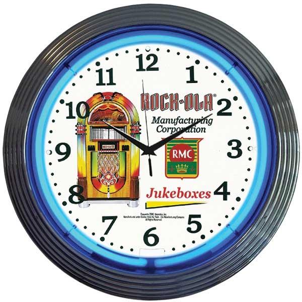 Rock-Ola Jukebox Neon Wall Clock