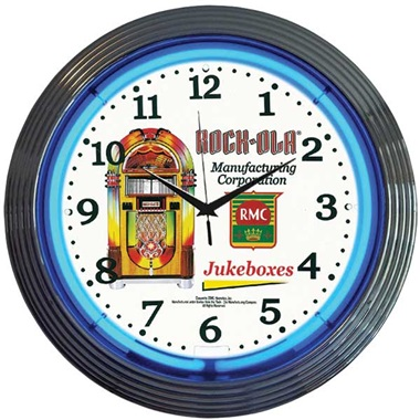 Rock-Ola Jukebox Neon Wall Clock