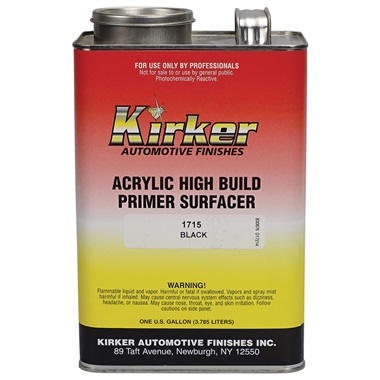 Kirker Acrylic Lacquer High-Build Primer (1K) - Black, Gal