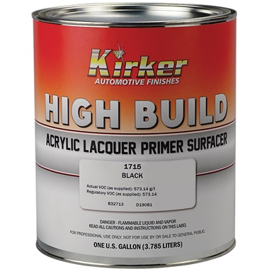 Kirker Acrylic Lacquer High-Build Primer (1K) - Black, Gal